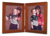 Fruitwood Finish 3.5x5 Portrait Double Hinge Picture Frame