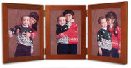 Fruitwood Finish Triple Hinge 3.5x5 Portrait Picture Frame