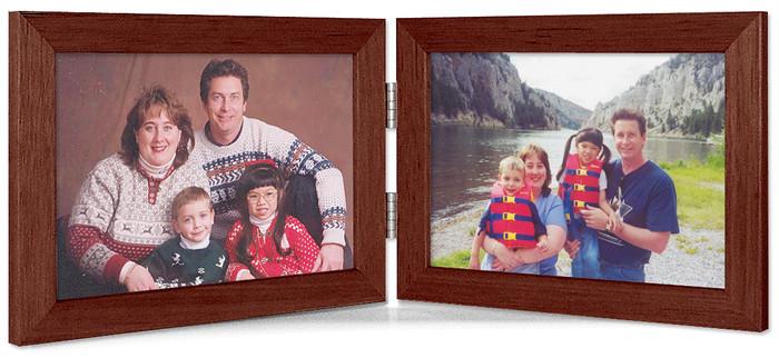 Walnut Finish 5x3.5 Horizontal Double Hinge Picture Frame