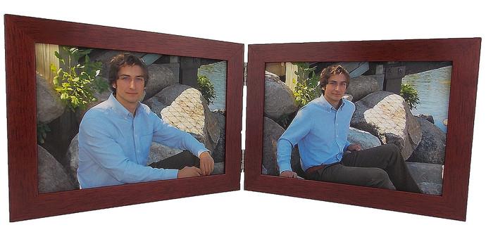 Mahogany Finish 5x3.5 Horizontal Double Hinge Picture Frame
