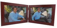 Mahogany Finish 5x3.5 Horizontal Double Hinge Picture Frame