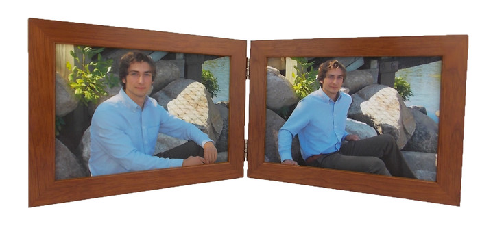 Fruitwood Finish Double Hinge 5x3.5 Landscape Picture Frame