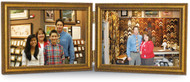 Antiqued Gold Wood Frame Double Hinged Landscape 5x3.5