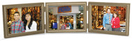 Antiqued Soft Gold with Silver Undertones 5x3.5 Triple Hinged  Horizontal wood frame