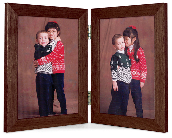 Double Hinge Vertical (Portrait) Picture Frame - Walnut Finish