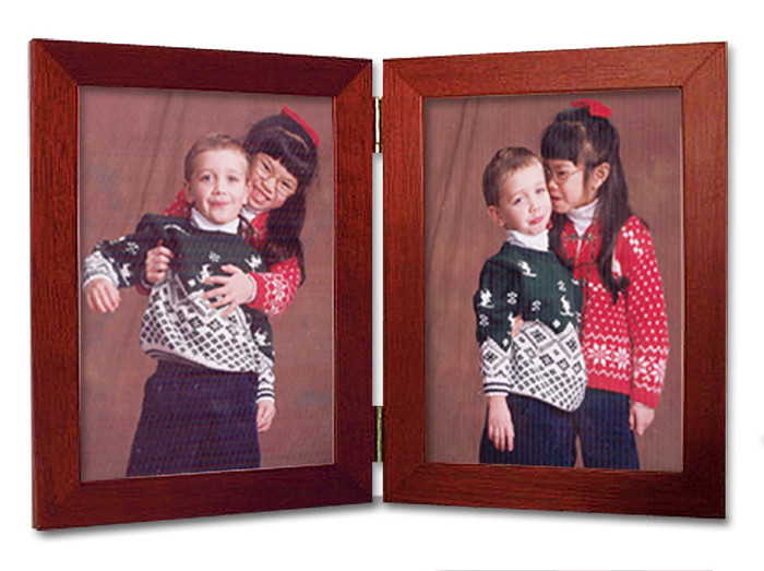 Double Hinge Vertical (Portrait) Picture Frame - Cherry Finish