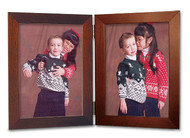 Double Hinge Portrait Picture Frame - Mahogany Finish