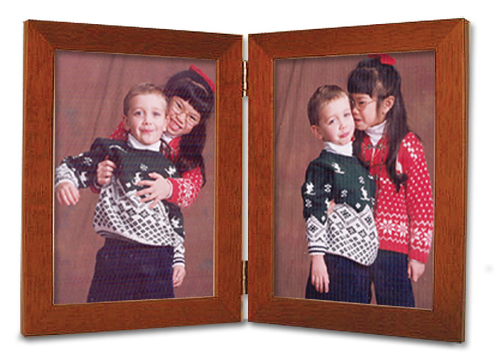 Double Hinge Vertical (Portrait) Picture Frame - Fruitwood Finish