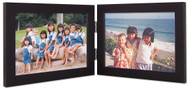 Double Hinged Landscape Wood Picture Frame, horizontal orientation, black finish with silver hinges.