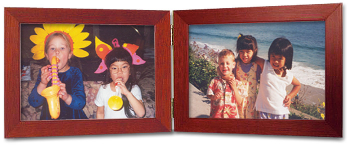Double Hinge Horizontal (Landscape) Picture Frame - Cherry Finish