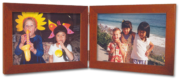 Double Hinge Horizontal (Landscape) Picture Frame - Fruitwood Finish