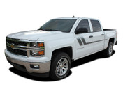 TRACK XL : 2000-2018 Chevy Silverado GMC Sierra Side Door Hockey Decal Vinyl Graphic Stripe Kit (M-PDS-2365)