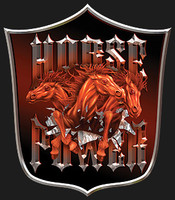 HORSEPOWER SHIELD: High Definition Automotive Vinyl Graphics Horse Trailer Decals (M-HOP-10S)