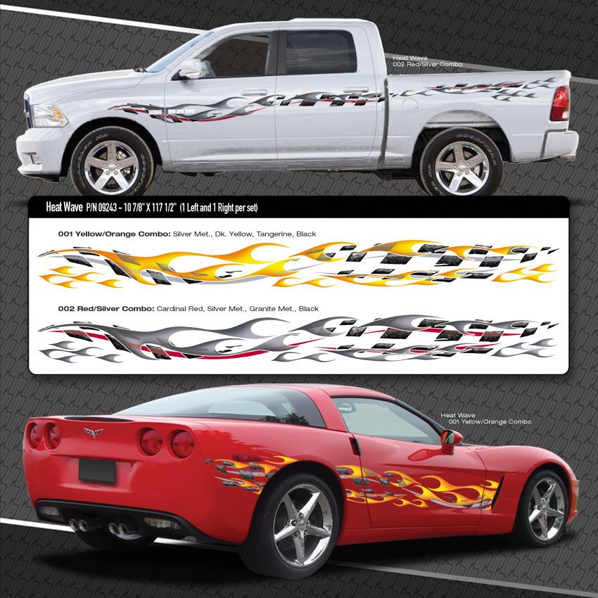 Heat Wave Automotive Vinyl Graphics Shown On Dodge Ram