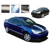 FOCUSED RALLY : Ford Focus Vinyl Graphics and Decals Kit - Professional 3M Grade Vinyl Graphics and Decals Kit for the Ford Focus! Hood and Rocker Panel Stripes Included! Pre-cut pieces ready to install. - Details