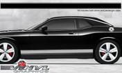 Dodge Challenger : Solid Rocker Panel Stripes with Pinstripes fits 2008-2013 Models (SVS307D)