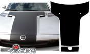 Dodge Challenger : Black Carbon Fiber Solid T Hood Graphic fits 2008-2013 Models (SVS302D)
