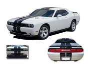 Challenger RALLY : Vinyl Graphics Racing Stripes Kit 2008 2009 2010 2011 2012 2013 2014 Dodge Challenger - Complete RALLY Style Racing Stripes Graphic, Decal and Stripe Package for the New 2008 - 2014 Dodge Challenger! Pre-cut and tapered pieces ready to install . . . An amazing look at a fantastic price, using only Premium Cast 3M, Avery, or Ritrama Vinyl!