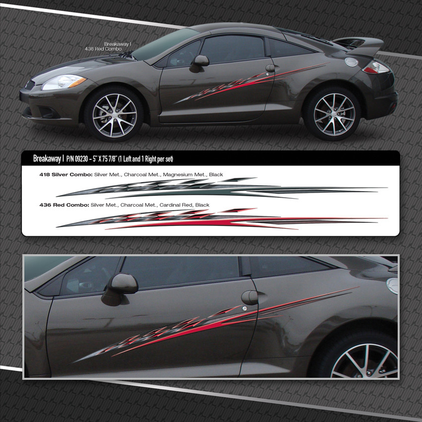 BREAKAWAY Automotive Vinyl Graphics Mitsubishi Eclipse Compact - Vinyl graphics for a car