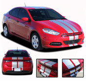 DART RALLY : Bumper to Bumper Rally Racing Stripes for Dodge Dart - Rally Style Dodge Dart Racing Stripes Kit! Pre-trimmed sections ready to install, using only Premium Cast 3M, Avery, or Ritrama Vinyl!