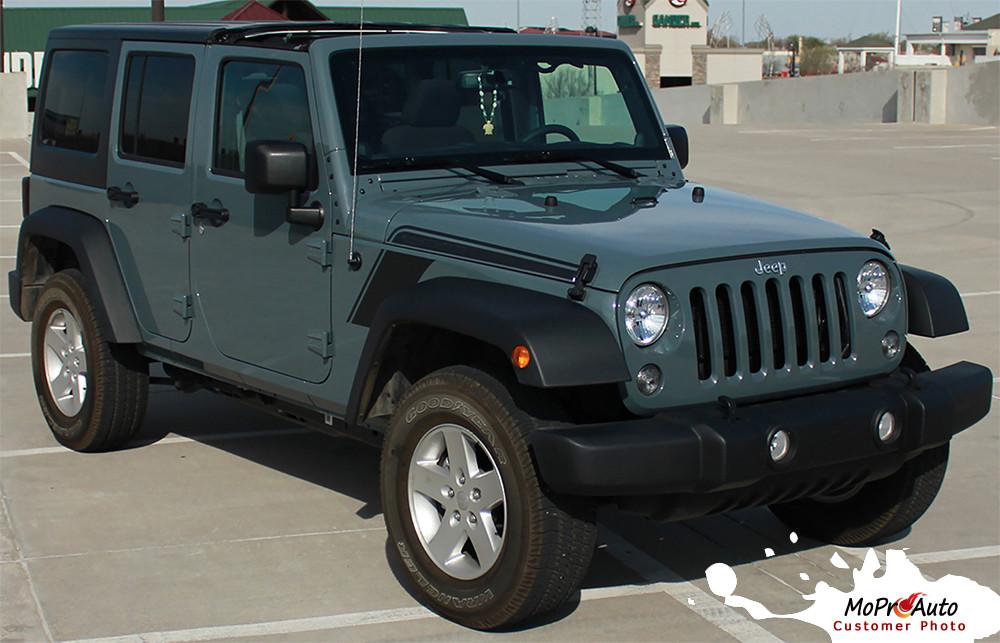 RUNDOWN Jeep Wrangler Hood To Fender Vinyl Graphics Decal Stripe - Jeep hood decalsgraphics for jeep wrangler hood decals and graphics www