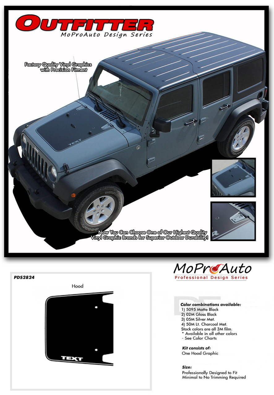 OUTFITTER  Jeep Wrangler Hood Vinyl Graphics Decal Stripe Kit For - Decal graphics