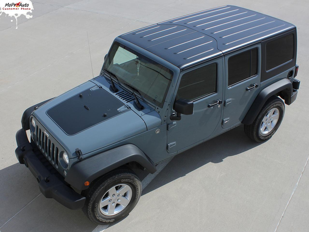 outfitter : jeep wrangler hood vinyl graphics decal stripe kit for