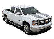 RALLY 1500 : 2014 2015 Chevy Silverado Vinyl Graphic Decal Rally Edition Style Racing Stripe Kit (M-PDS-3252)