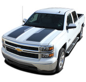 "RALLY 1500 PLUS : 2014 2015 ""Rally Edition Style"" Chevy Silverado Vinyl Graphic Decal Racing Stripe Kit (M-PDS-3253-4)"