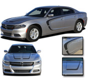 "2015 2016 2017 2018 C-SCALLOP COMBO : ""C"" Style Hood and Side Vinyl Graphic, Decals, and Stripe Kit for Dodge Charger"