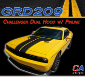 2011-2014 Dodge Challenger Dual Hood w/ Pin Outline Vinyl Stripe Kit (M-GRD209)