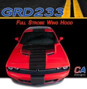 2015 Dodge Challenger Full Strobe Wing Center Hood Vinyl Stripe Kit (M-GRD233)