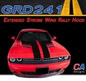 2015-2018 Dodge Challenger Extended Strobe Wing Rally Hood Vinyl Stripe Kit (M-GRD241)