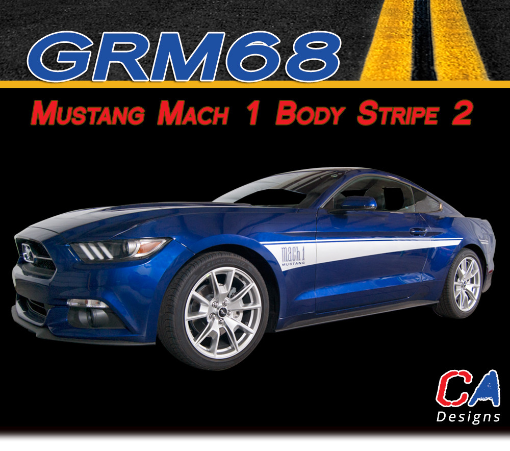 2015 2016 ford mustang mach 1 body 2 side vinyl stripe kit moproauto vinyl graphics decals. Black Bedroom Furniture Sets. Home Design Ideas