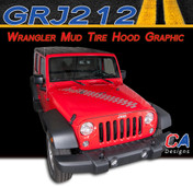 2007-2015 Jeep Wrangler Mud Tire Hood Vinyl Graphic Stripe Package (M-GRJ212)