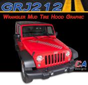 2007-2015 Jeep Wrangler Mud Tire Hood Vinyl Graphic Stripe Package (M-GRJ212)