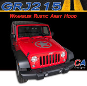 2007-2015 Jeep Wrangler Rustic Army Hood Vinyl Graphic Stripe Package (M-GRJ215)