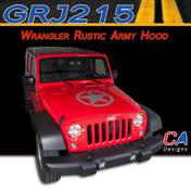 2007-2015 Jeep Wrangler Rustic Army Hood Vinyl Graphic Stripe Package (M-GRJ215)
