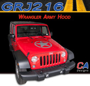 2007-2015 Jeep Wrangler Army Hood Vinyl Graphic Stripe Package (M-GRJ216)