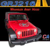 2007-2015 Jeep Wrangler Army Hood Vinyl Graphic Stripe Package (M-GRJ216)