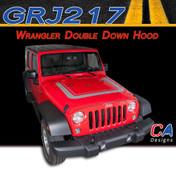2007-2015 Jeep Wrangler Double Down Hood Vinyl Graphic Stripe Package (M-GRJ217)