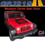 2007-2015 Jeep Wrangler Center Army Hood Vinyl Graphic Stripe Package (M-GRJ219)