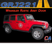 2007-2015 Jeep Wrangler Rustic Army Door Vinyl Graphic Stripe Package (M-GRJ221)