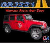 2007-2015 Jeep Wrangler Rustic Army Door Vinyl Graphic Stripe Package (M-GRJ221)