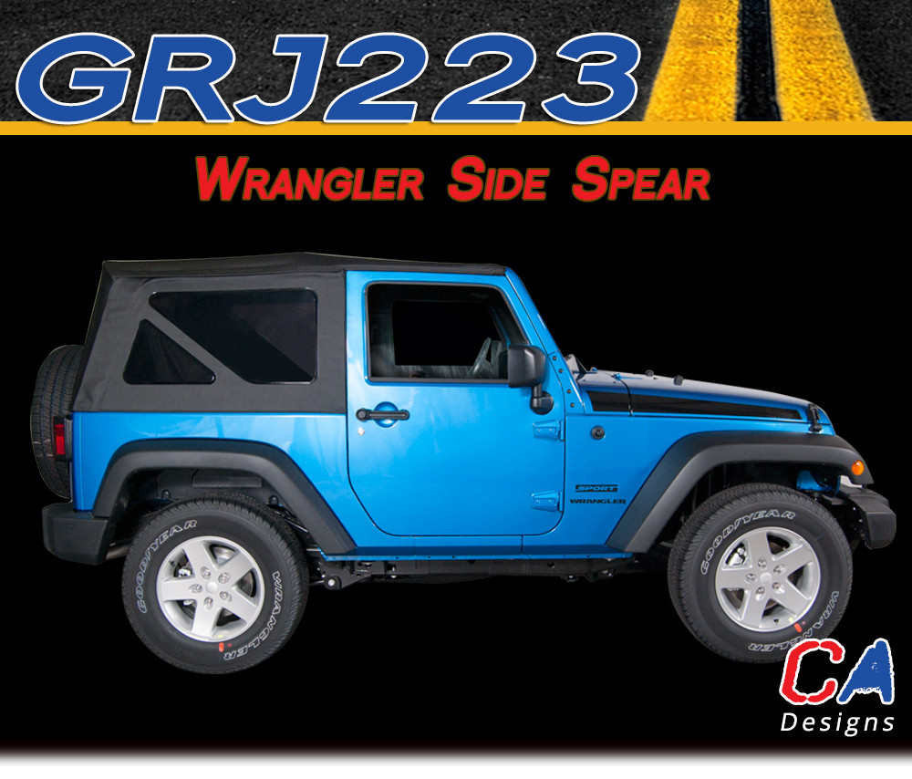 2007 2017 Jeep Wrangler Side Spear Vinyl Graphic Stripe Package Moproauto Vinyl Graphics