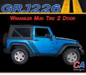 2007-2015 Jeep Wrangler Mud Tire Two Door Vinyl Graphic Stripe Package (M-GRJ226)
