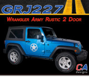 2007-2015 Jeep Wrangler Army Rustic Two Door Vinyl Graphic Stripe Package (M-GRJ227)