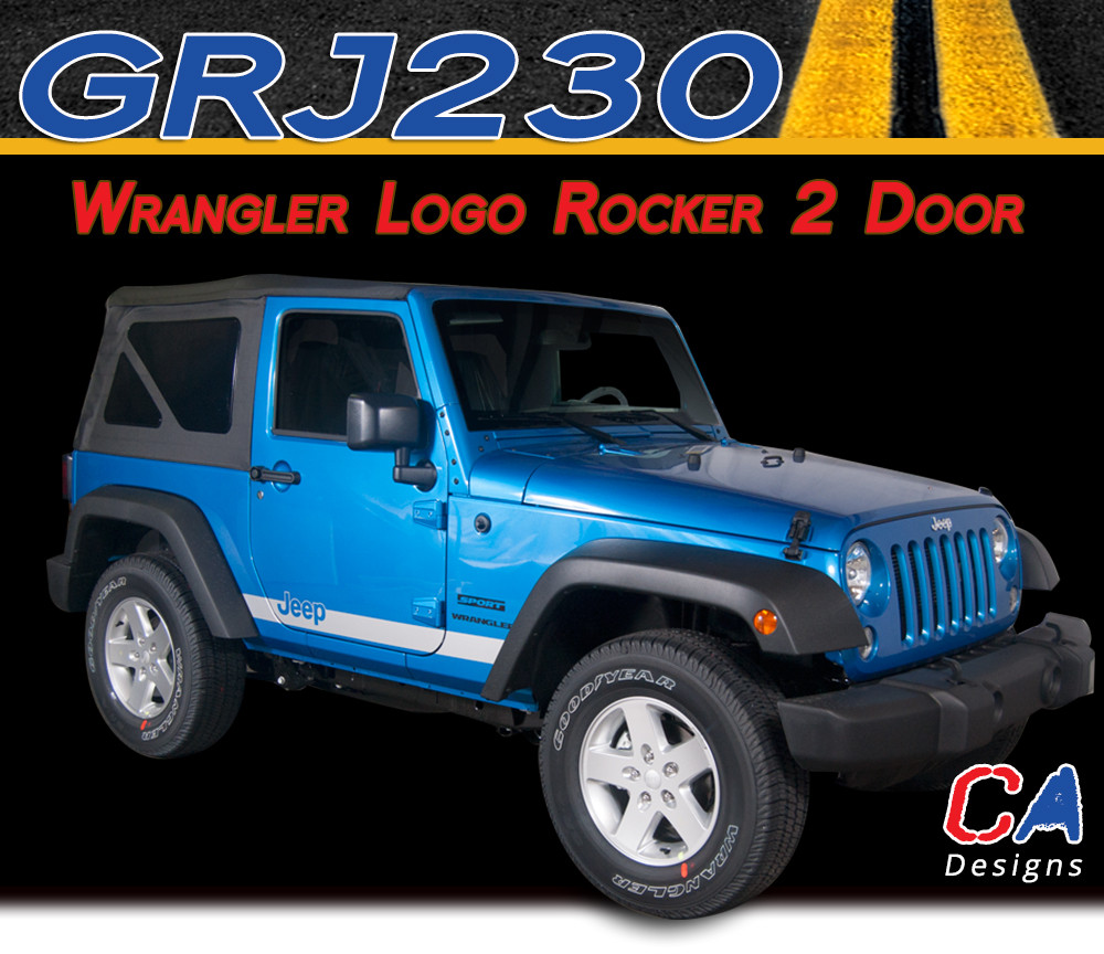 2007 2018 Jeep Wrangler Logo Rocker Two Door Vinyl Graphic Stripe Package Moproauto Vinyl