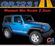 2007-2015 Jeep Wrangler Mud Logo Rocker Two Door Vinyl Graphic Stripe Package (M-GRJ231)