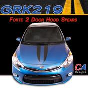 2014-2015 Kia Forte 2 Door Hood Spears Vinyl Racing Stripe Kit (M-GRK219)